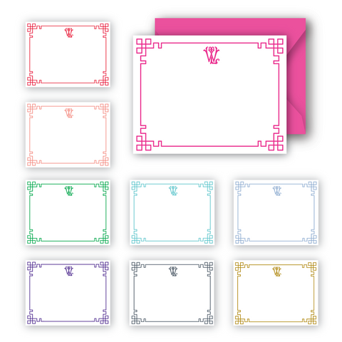 Interlocking monogram notecards