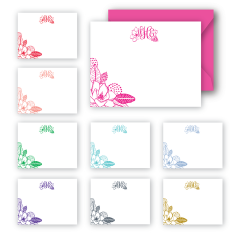 Magnolia monogram notecards