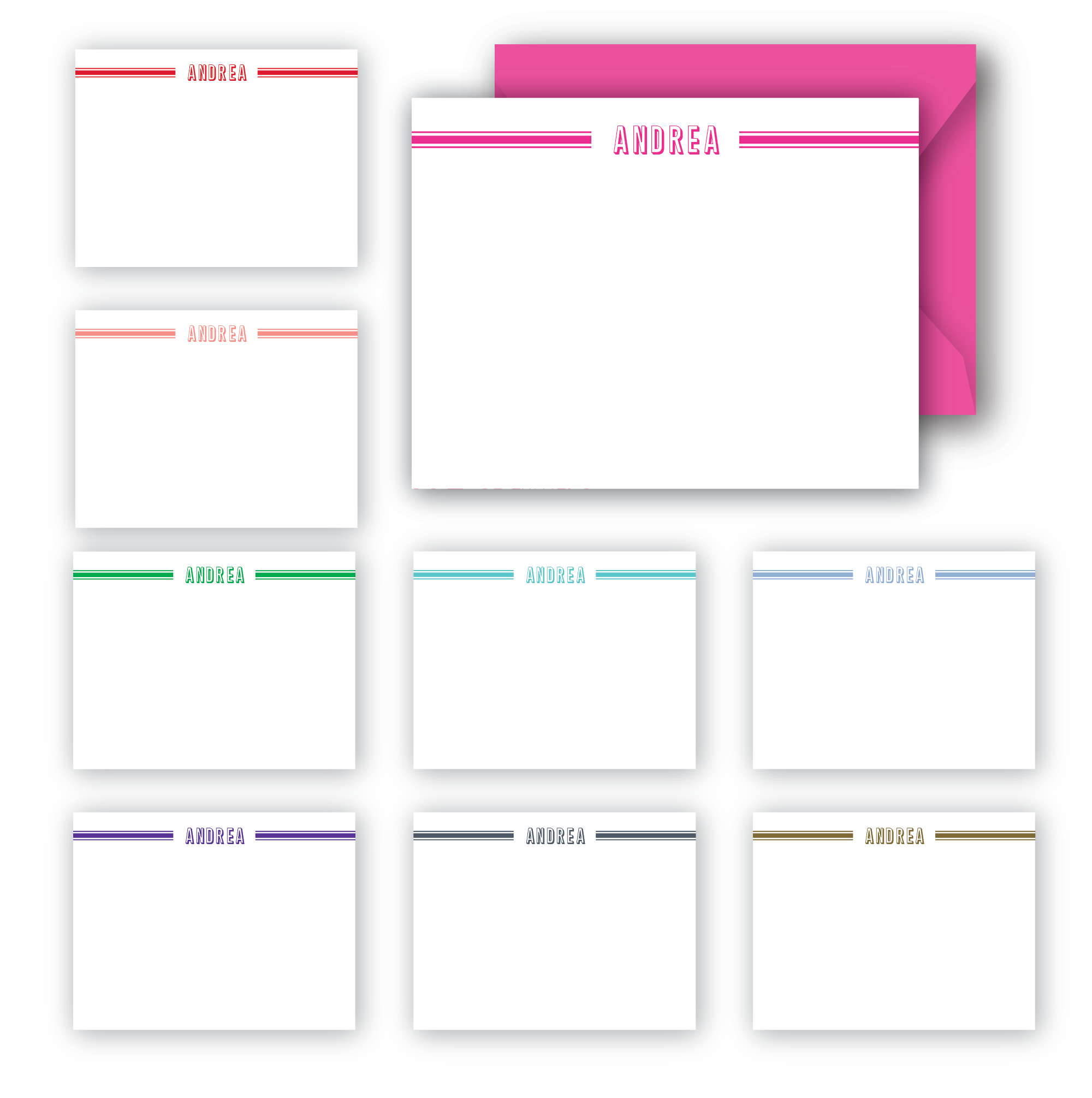 Modern stripes personalized notecards