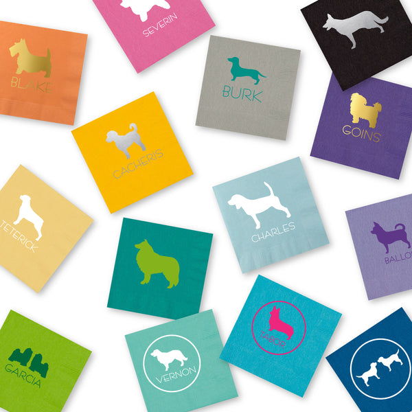 Pet silhouette cocktail napkins