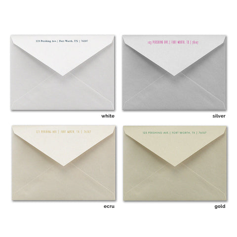 Shimmer envelopes with return address