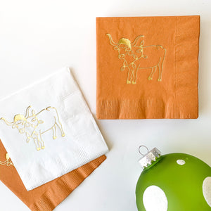 Holiday longhorn cocktail napkins