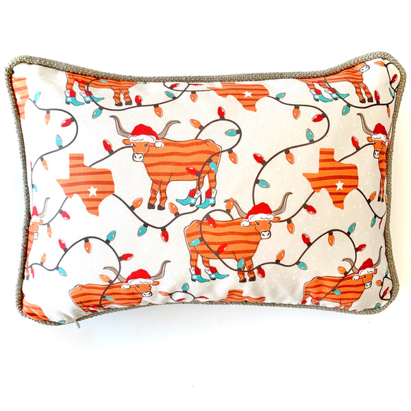 Holiday longhorn pillow