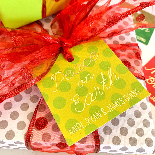 Gold foil holiday gift tags