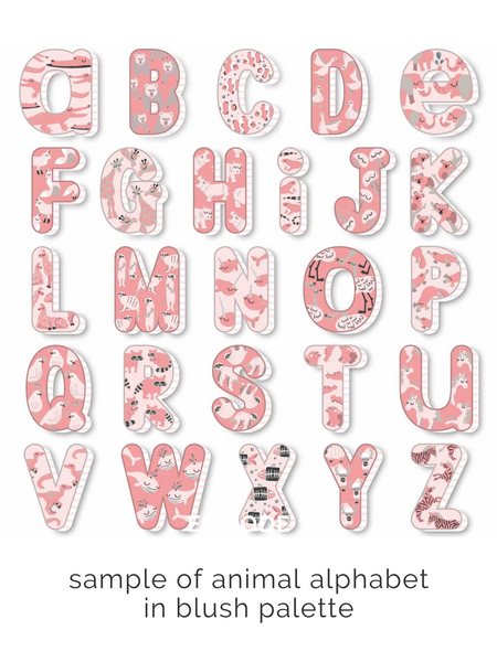 Animal alphabet initial art print