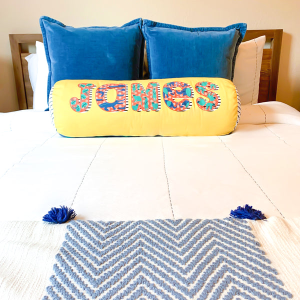 Personalized giant name bolster pillow in animal alphabet