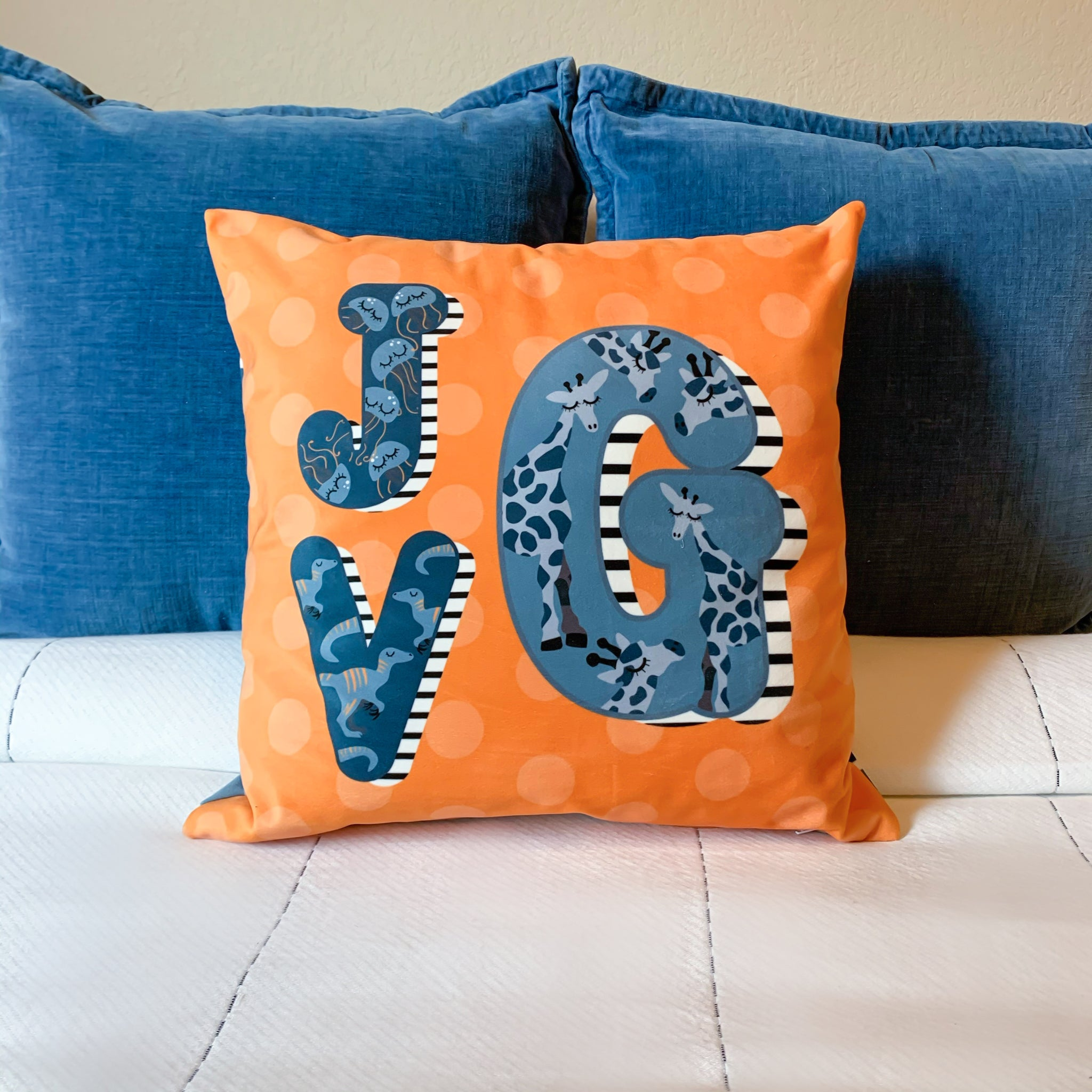 Monogrammed animal alphabet pillow