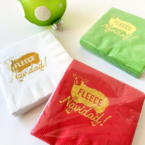 Fleece Navidad cocktail napkins