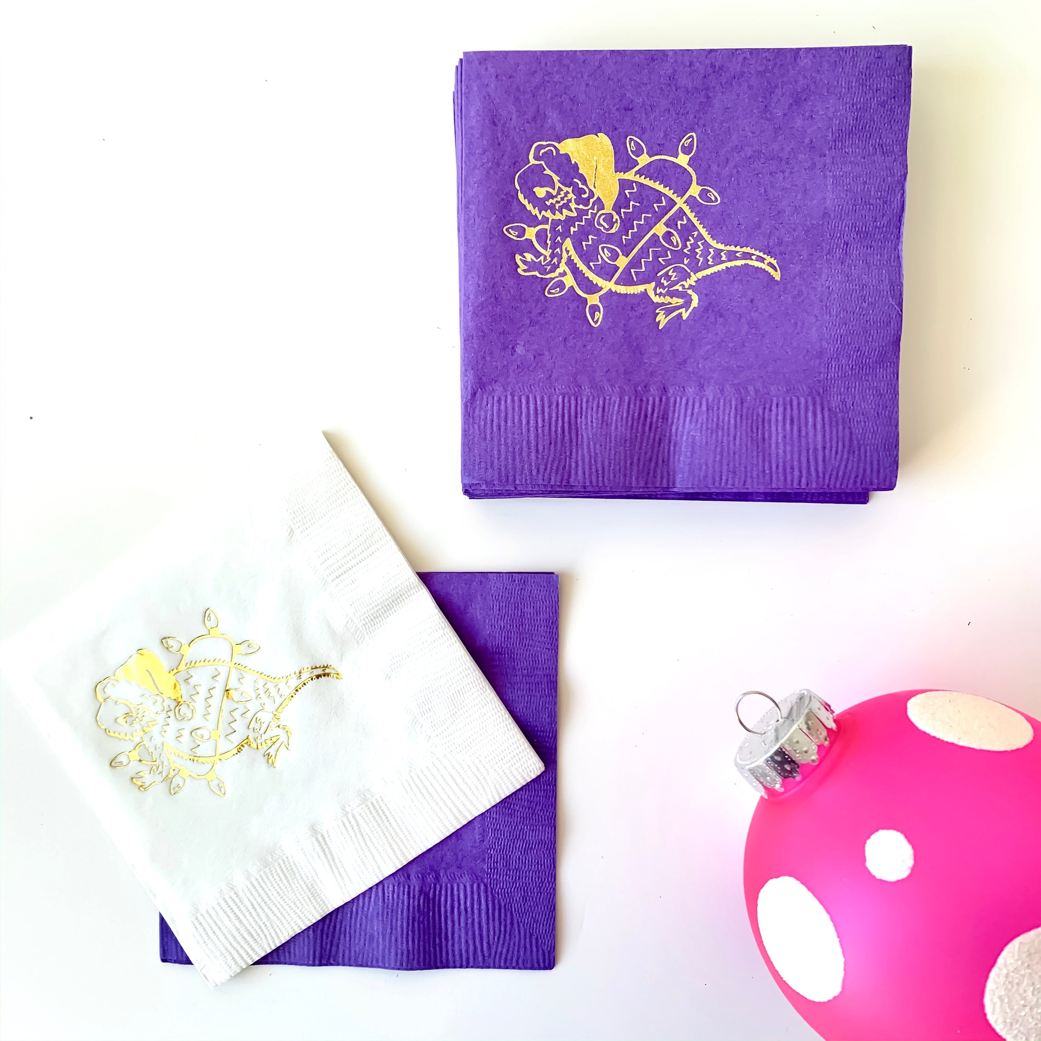 Holiday horned frog cocktail napkins