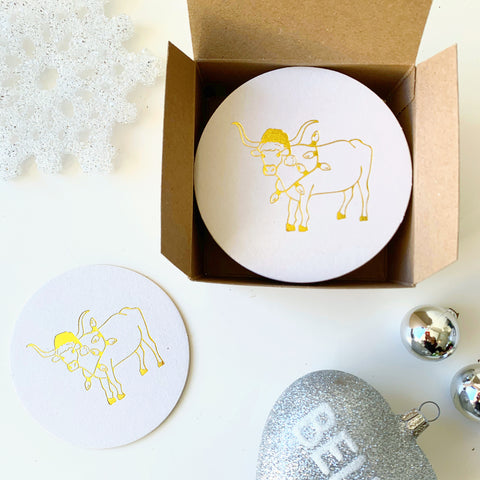 Holiday longhorn coasters