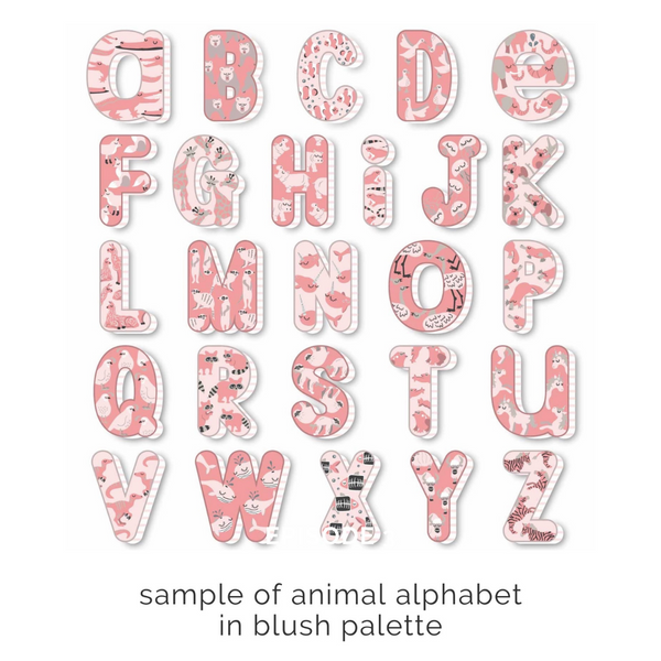 Double name & initial pillow in animal alphabet