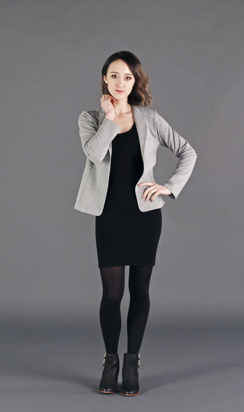 Relaxed fit stretch french terry blazer with tailored detailing