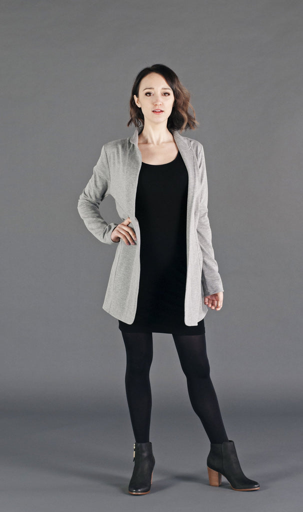Relaxed fit stretch french terry blazer with tailored detailing.