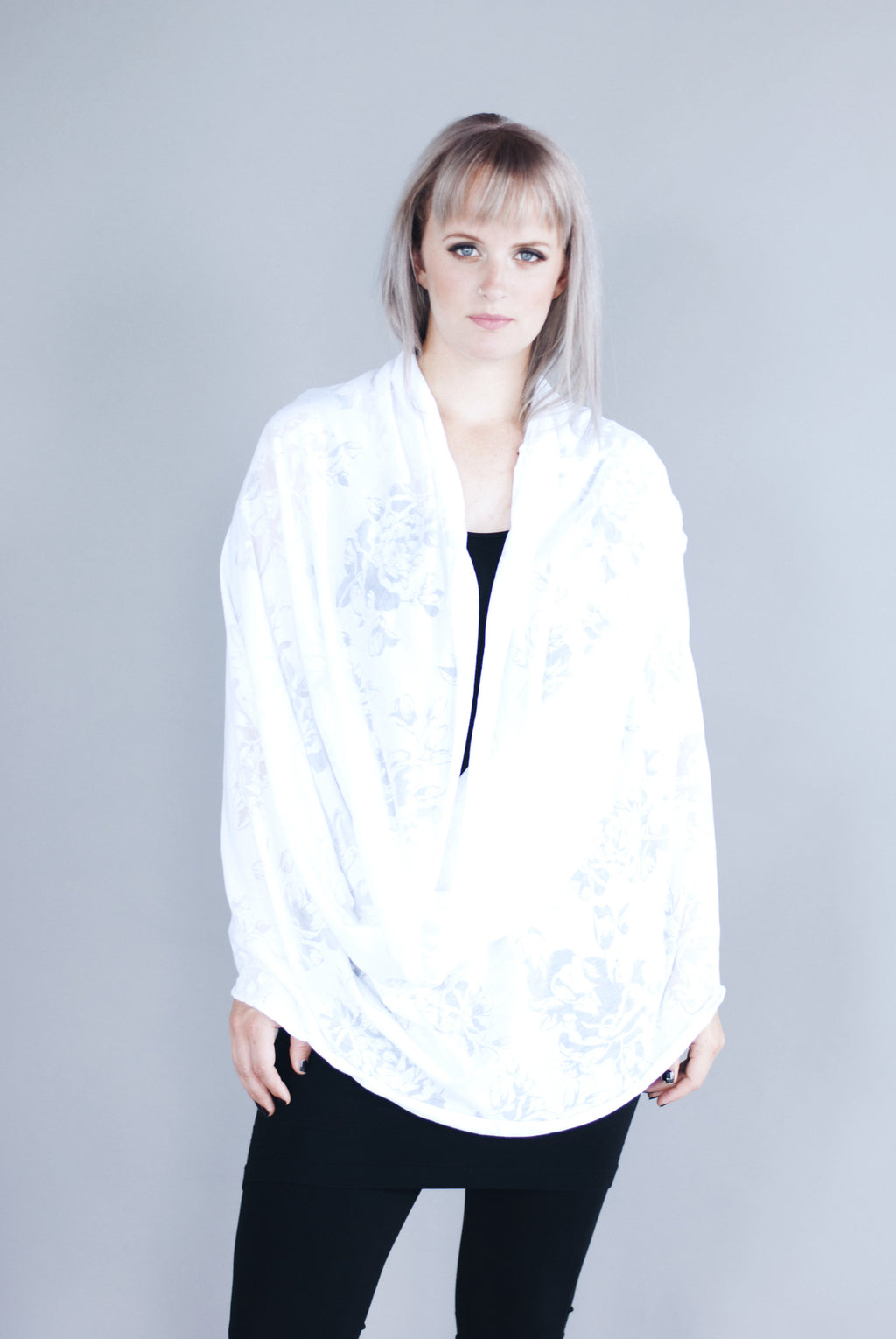 Infinity Shawl - White Floral
