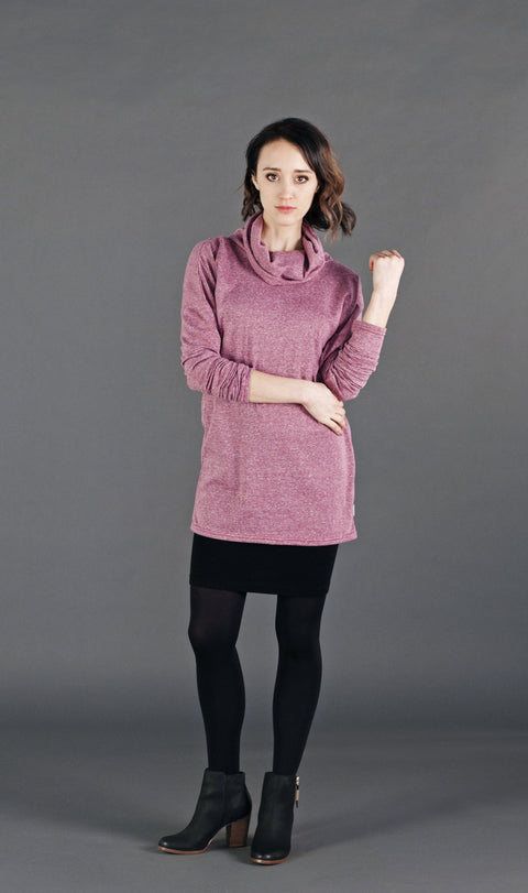A super comfy relaxed fit tunic cowl sweater with full length sleeves.