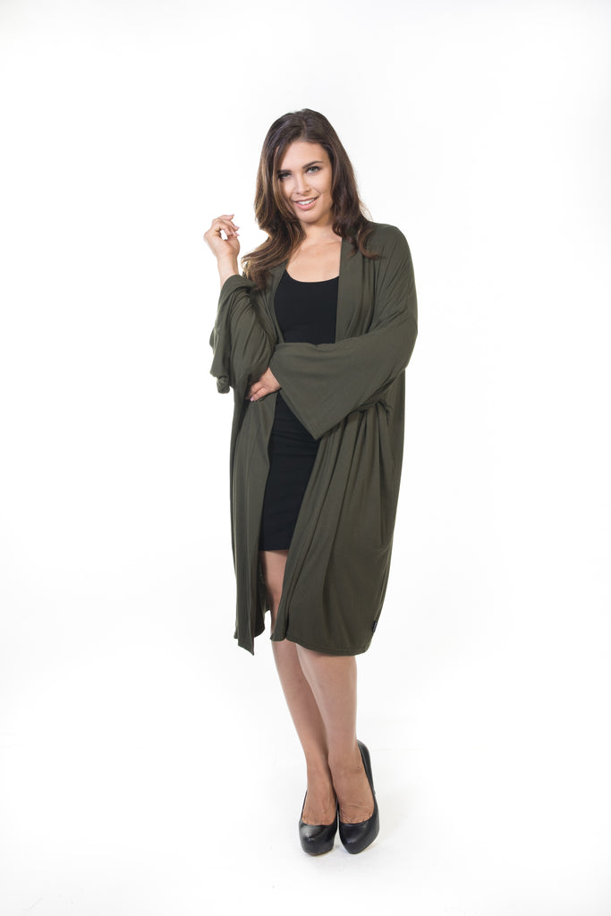 Piper Long Cardigan - Olive