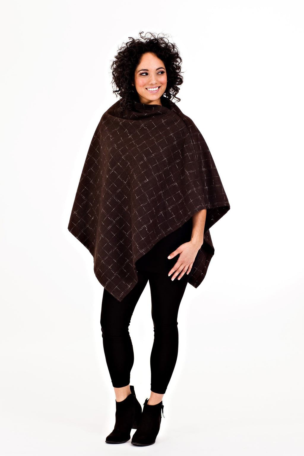 Shirin Poncho - Brown Plaid