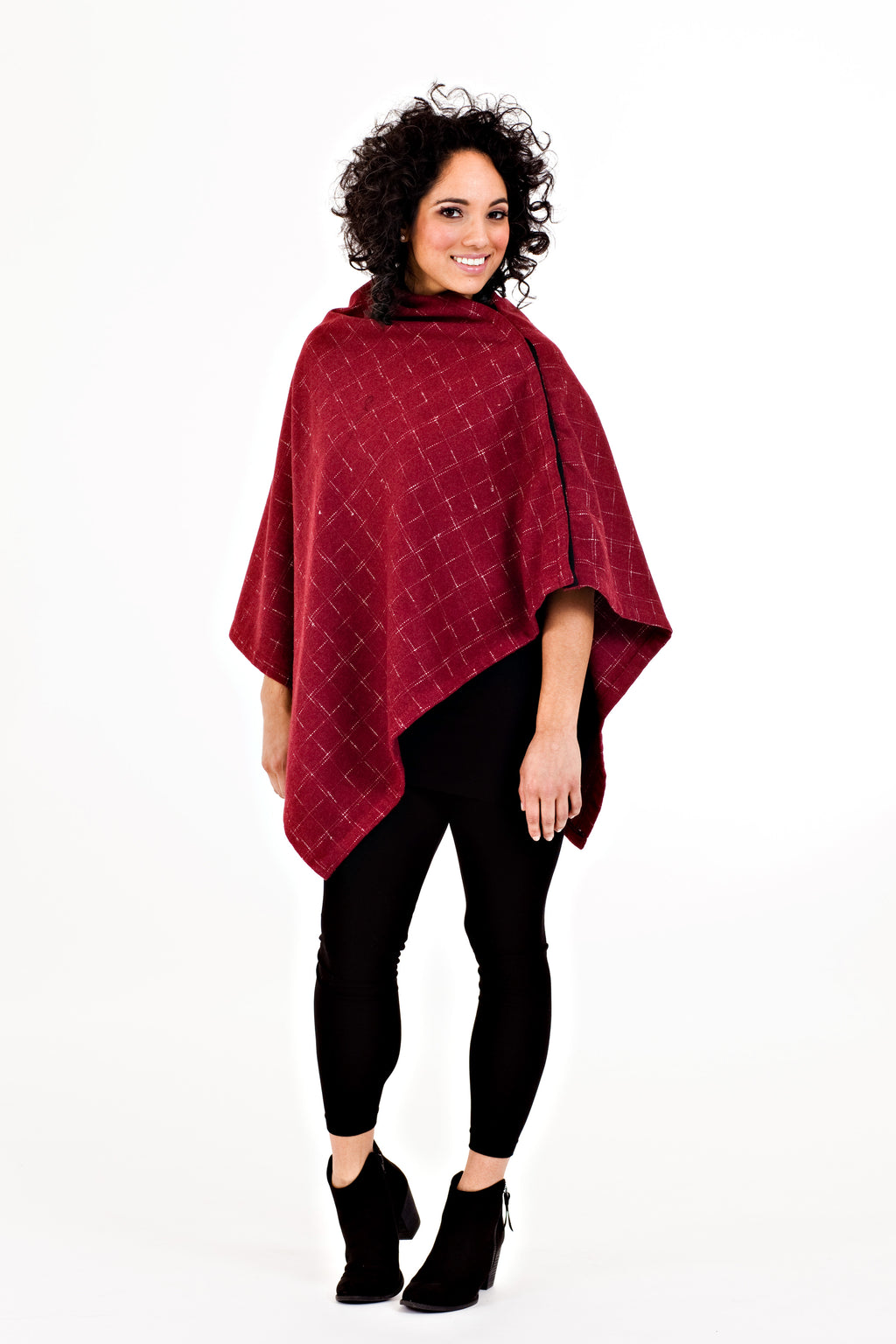 Shirin Poncho - Red Plaid  *70% OFF FINAL SALE