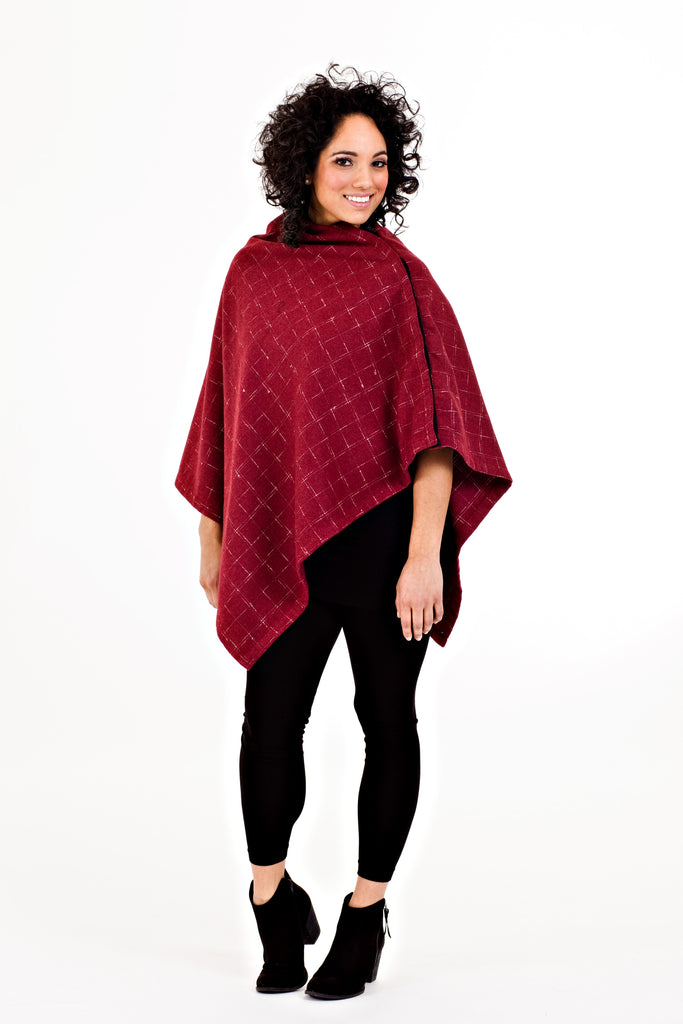 Shirin Poncho - Red Plaid