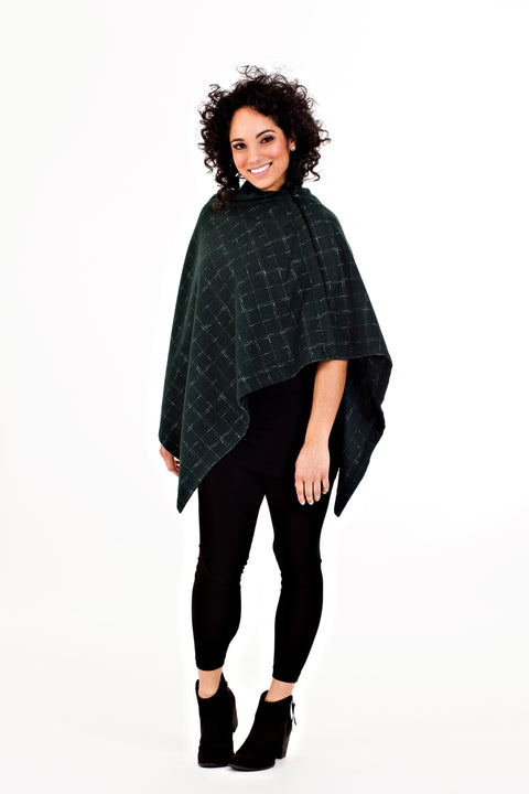Shirin Poncho - Green Plaid