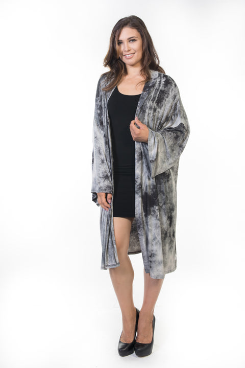 Piper Long Cardigan - Grey Tie Dye