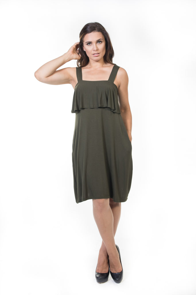 Iris Short Ruffle Dress - Olive