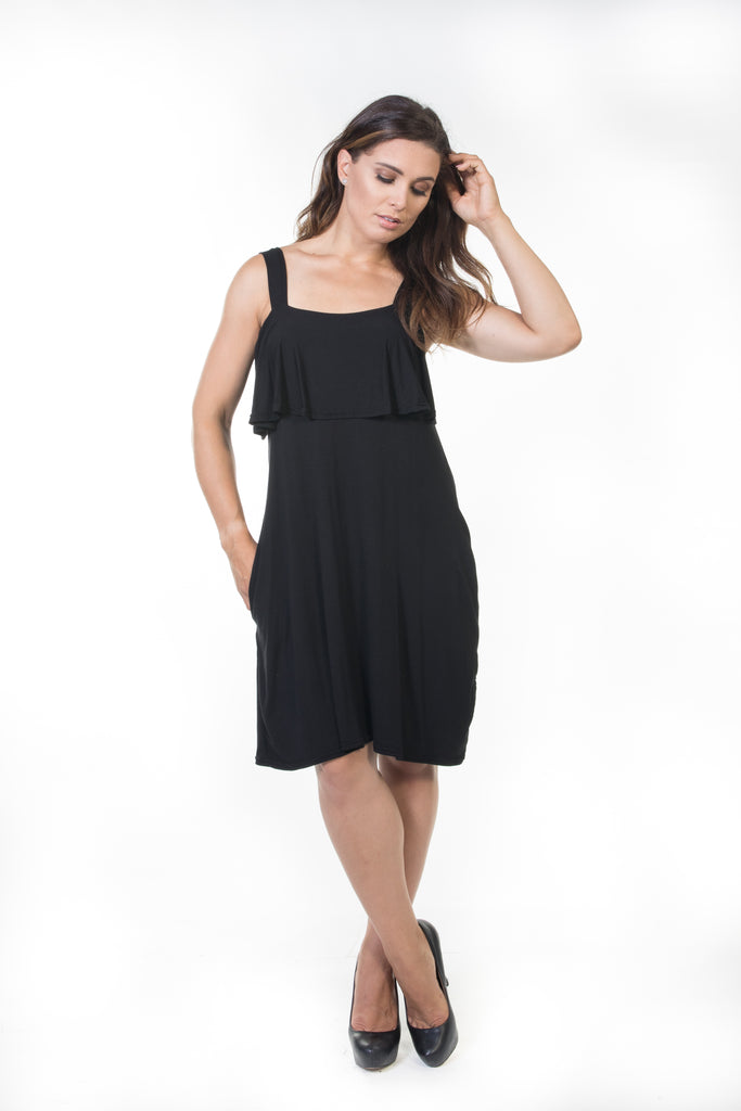 Iris Short Ruffle Dress - Black *70% OFF FINAL SALE