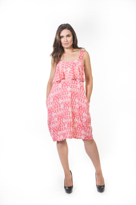 Iris Short Ruffle Dress - Coral Aztec *70% OFF FINAL SALE