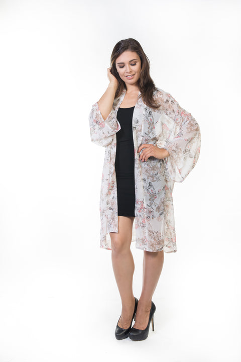 Piper Long Sheer Cardigan - White Floral