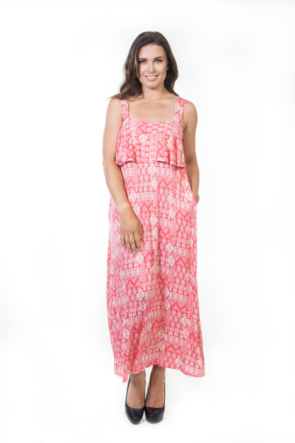 Iris Long Ruffle Dress - Coral Aztec