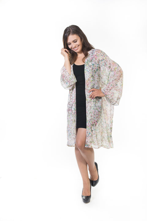 Piper Long Sheer Cardigan - Confetti Floral