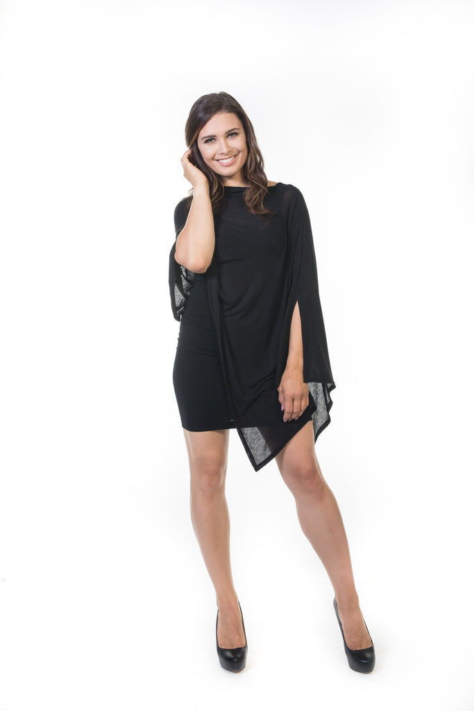 Suzie Poncho - Black Knit