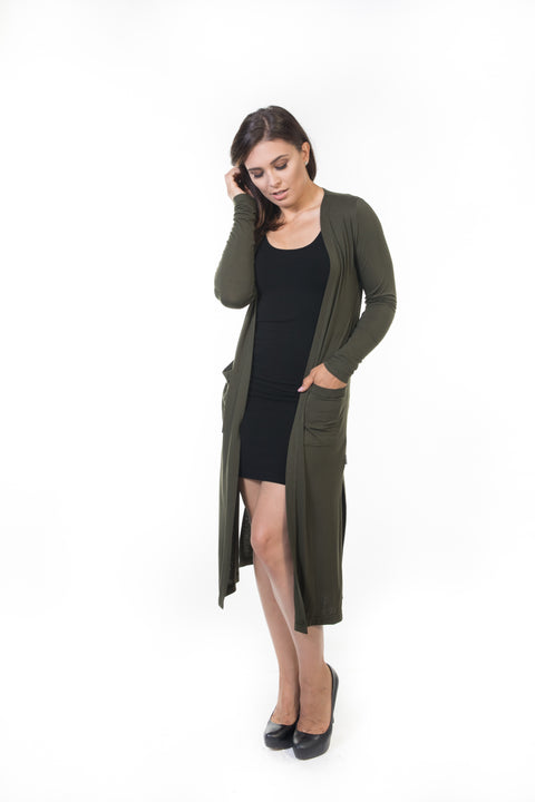 Ivy Long Cardigan - Olive