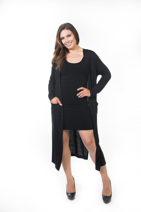Ivy Long Cardigan - Black