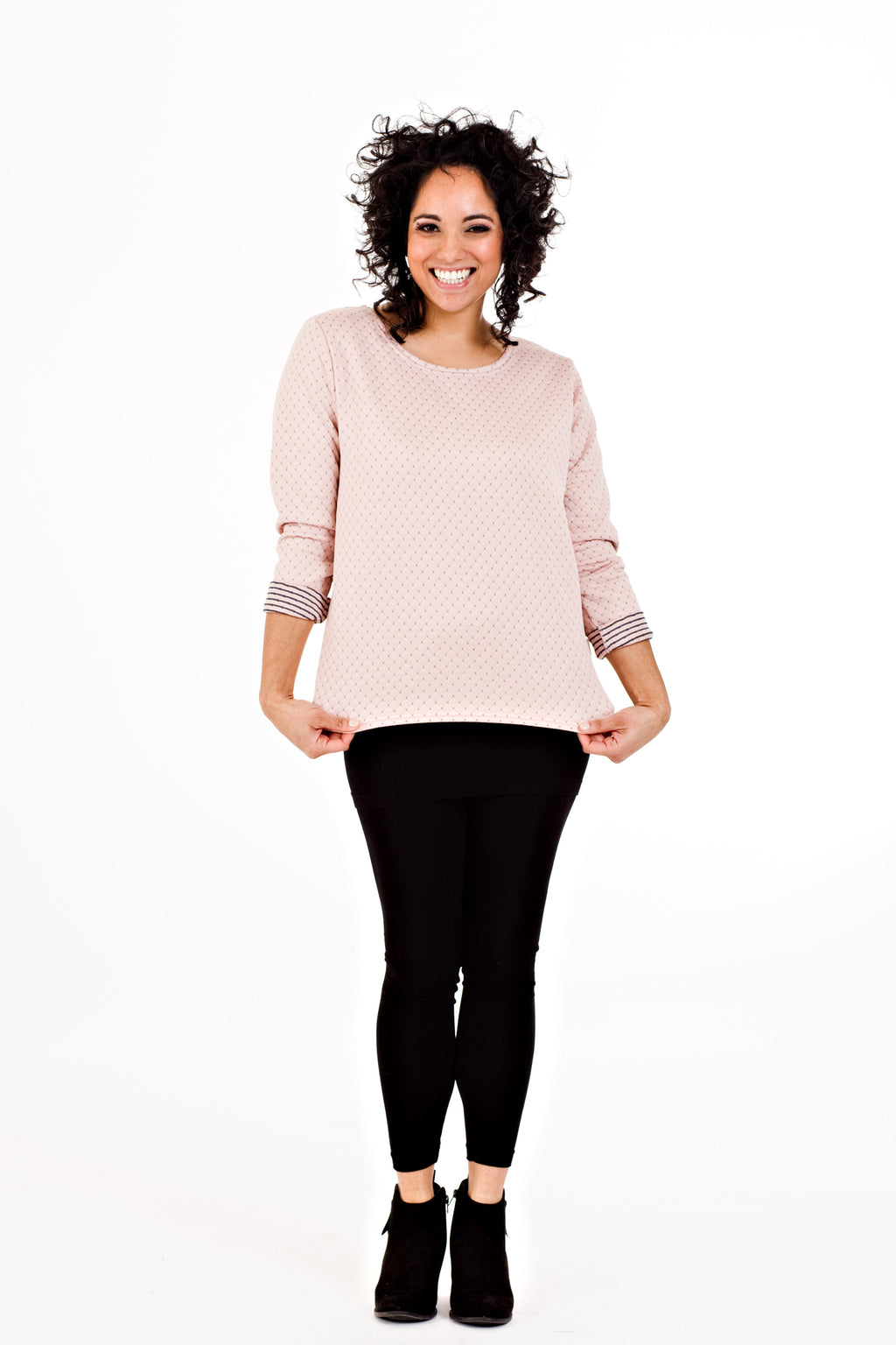 Thora Sweater - Blush Quilt   *50% OFF FINAL SALE