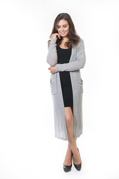 Ivy Long Cardigan - Grey Knit
