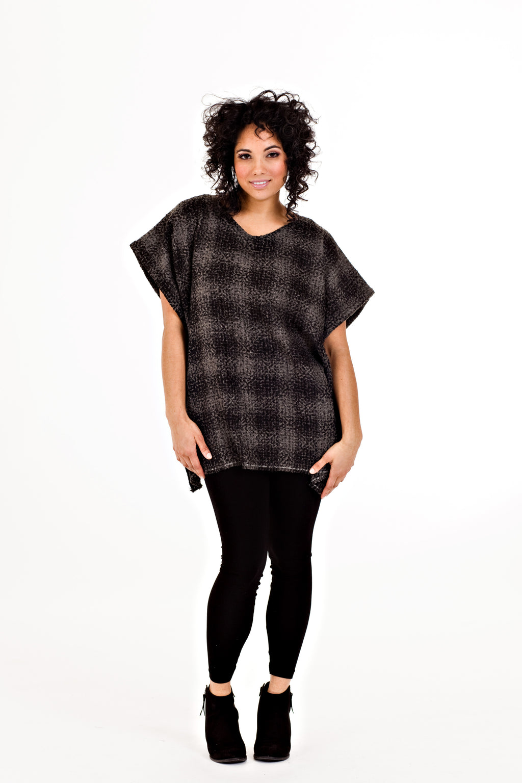 Ricki Poncho - Grey Tweed   *70% OFF FINAL SALE
