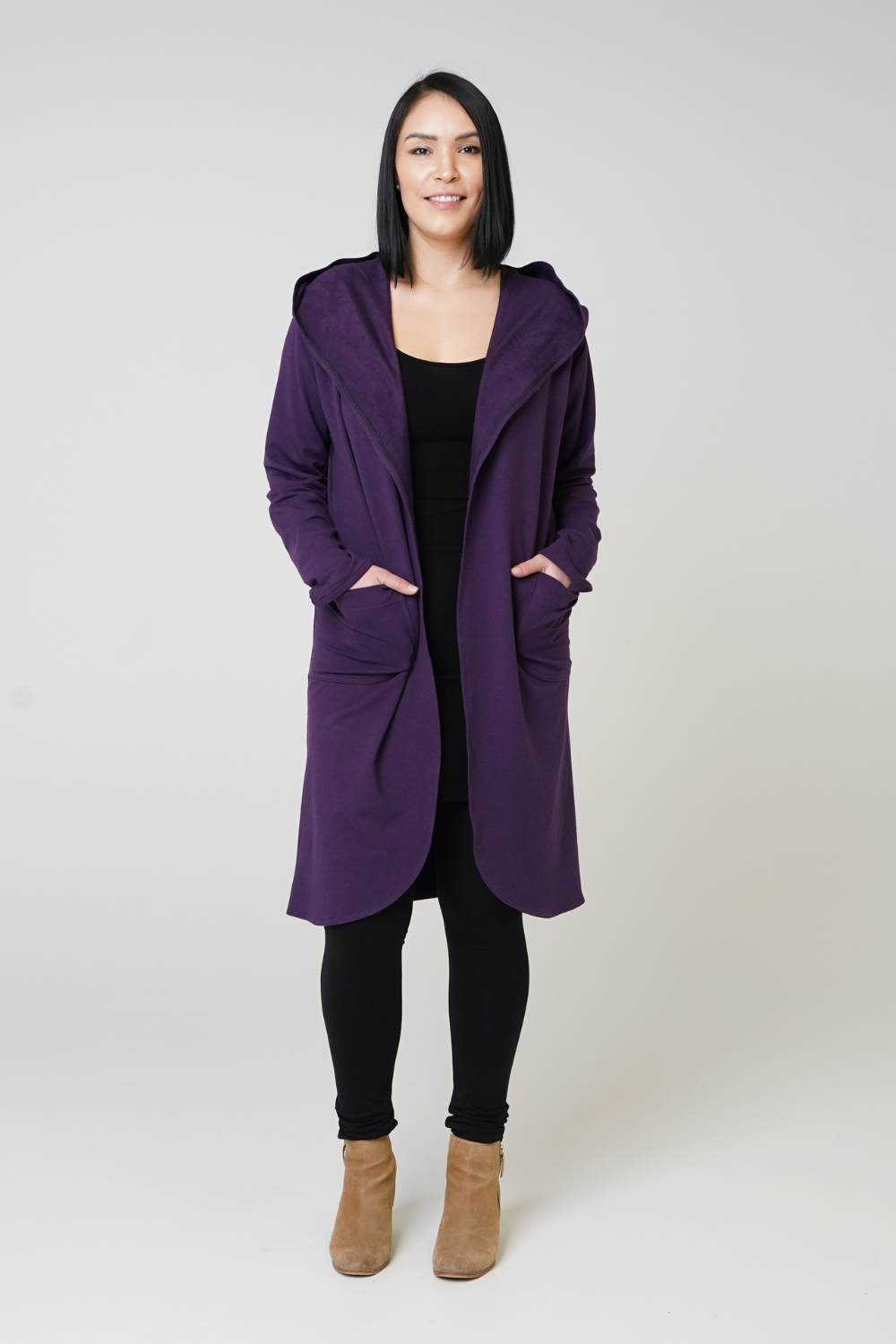 Violet Hooded Sleeved Duster - 3 Colours