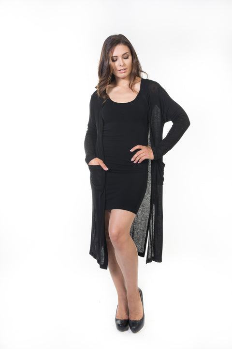 Ivy Long Cardigan - Black Knit