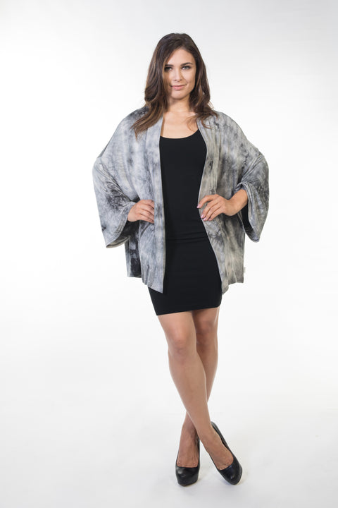 Piper Short Cardigan - Grey Tie Dye