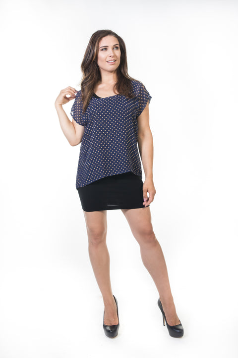 Penelope Top - Navy Polka Dot