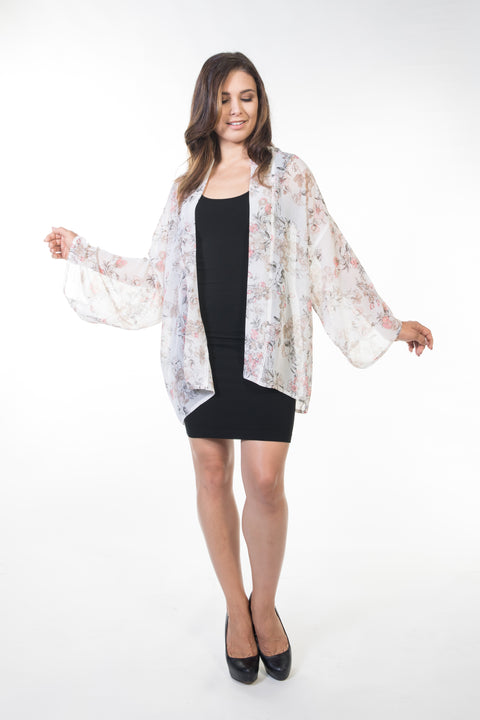 Piper Short Sheer Cardigan - White Floral