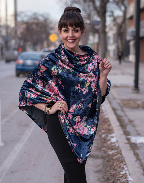 Shirin Poncho - Navy Floral Velvet   *70% OFF FINAL SALE