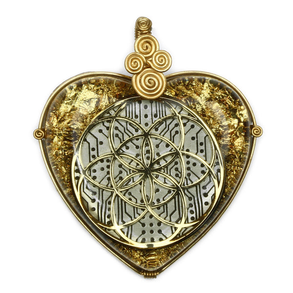 Seed of Life Orgonite Pendant (Gold) Pendant - Alternative Intelligence - aiapparel