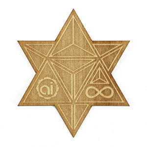 Star Tetrahedron Wood Sticker Wood Sticker - Alternative Intelligence - aiapparel