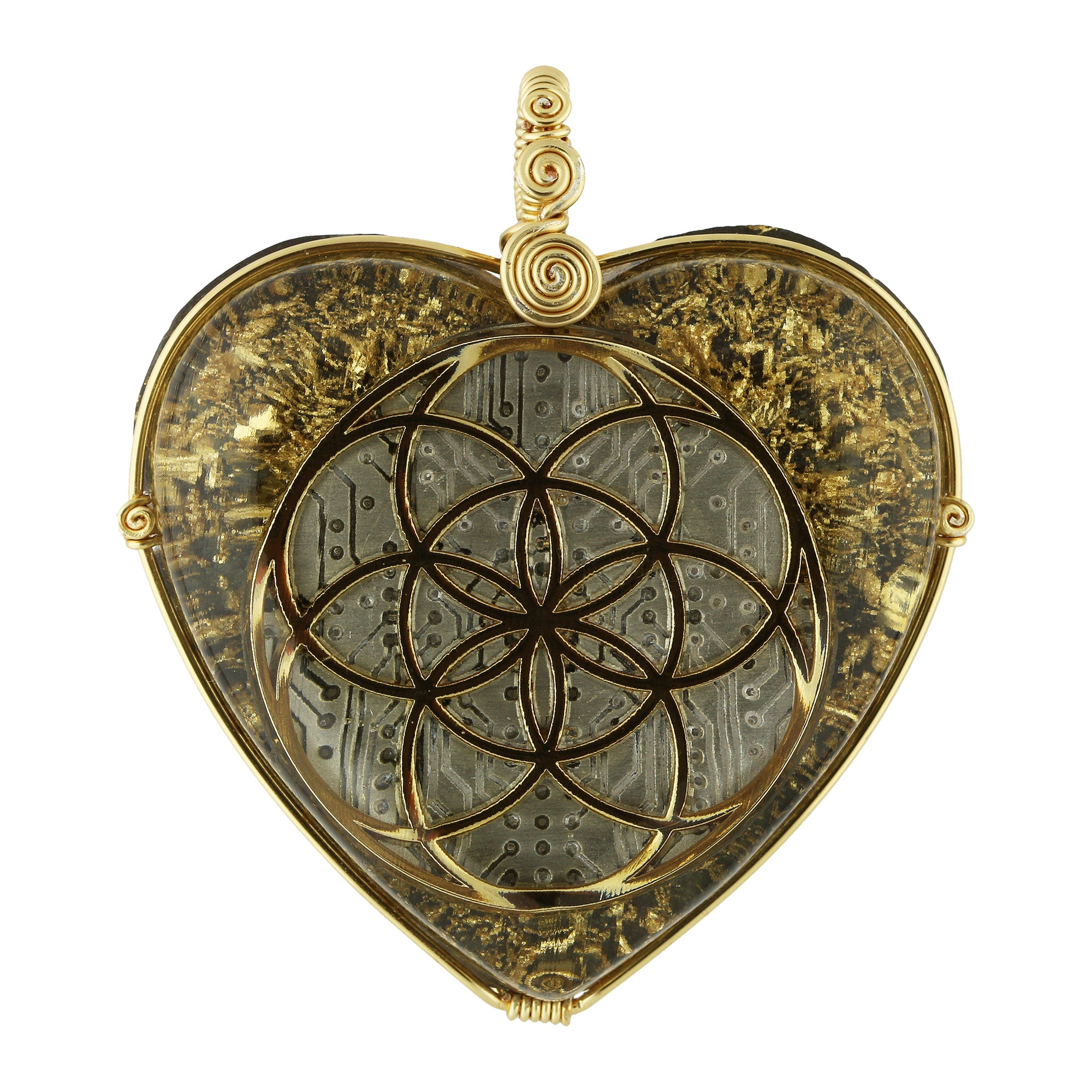 Orgonite Pendant Seed of Life (Gold)