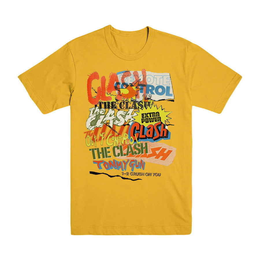 Singles Collage Gold T-shirt-The Clash