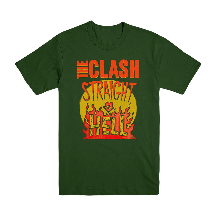 Straight To Hell Military Green T-shirt-The Clash