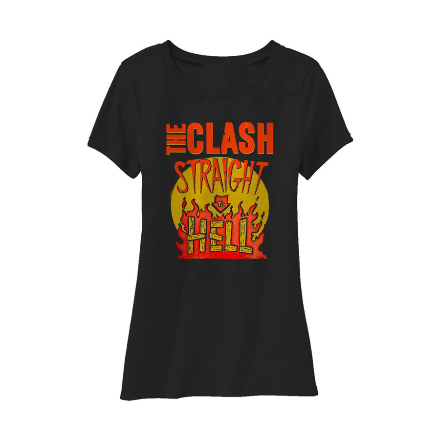 Straight To Hell Military Black Ladies T-shirt-The Clash