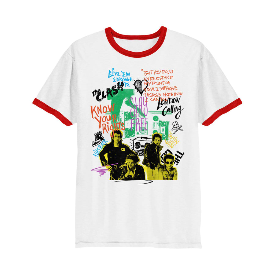 Singles Collage Ringer T-shirt-The Clash
